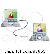 Royalty Free RF Clipart Illustration Of A Man And Woman In Connected Laptops by Prawny