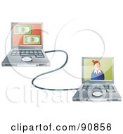 Royalty Free RF Clipart Illustration Of A Man On A Laptop Connected To His Internet Banking Site by Prawny