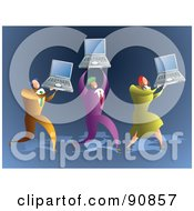 Royalty Free RF Clipart Illustration Of A Successful Business Team Carrying Laptops by Prawny