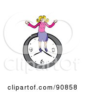 Royalty Free RF Clipart Illustration Of A Businesswoman Sitting On A Wall Clock by Prawny