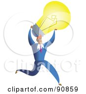 Royalty Free RF Clipart Illustration Of A Successful Businessman Carrying A Light Bulb by Prawny