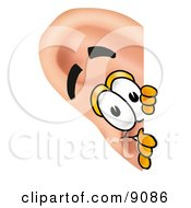 Ear Mascot Cartoon Character Peeking Around A Corner