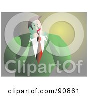 Royalty Free RF Clipart Illustration Of A Shocked Businessman Covering His Mouth