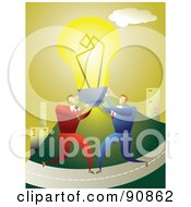 Royalty Free RF Clipart Illustration Of Two Businessmen Carrying A Bright Light Bulb On A Road