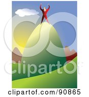 Royalty Free RF Clipart Illustration Of A Businessman Celebrating On Top Of A Mountain Top