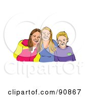 Royalty Free RF Clipart Illustration Of A Portrait Of A Boy And His Two Sisters by Prawny