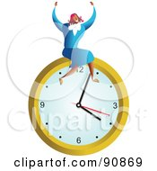 Royalty Free RF Clipart Illustration Of A Successful Businesswoman Sitting On A Clock