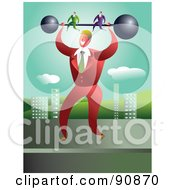 Royalty Free RF Clipart Illustration Of A Strong Businessman Holding Up Partners On A Barbell