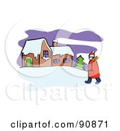 Royalty Free RF Clipart Illustration Of A Girl Walking In The Snow Towards A Home by Prawny