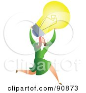 Royalty Free RF Clipart Illustration Of A Successful Businesswoman Carrying A Light Bulb by Prawny