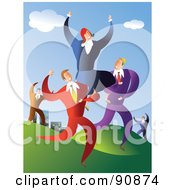 Royalty Free RF Clipart Illustration Of A Team Of Business Men Carrying A Successful Woman by Prawny