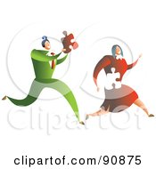 Royalty Free RF Clipart Illustration Of A Businessman Chasing After A Woman Holding Her Missing Puzzle Piece