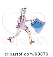 Royalty Free RF Clipart Illustration Of A Woman In A Purple Dress And Red Heels Carrying Shopping Bags by Prawny