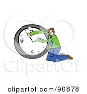 Royalty Free RF Clipart Illustration Of A Businessman Adjusting A Wall Clock by Prawny
