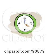 Royalty Free RF Clipart Illustration Of A Wall Clock With Business People Hands by Prawny