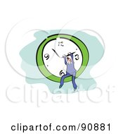 Royalty Free RF Clipart Illustration Of A Red Haired Businessman Sitting In A Wall Clock by Prawny