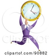 Royalty Free RF Clipart Illustration Of A Successful Businessman Carrying A Clock by Prawny