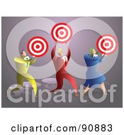 Royalty Free RF Clipart Illustration Of A Successful Business Team Carrying Targets