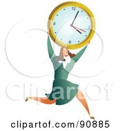 Royalty Free RF Clipart Illustration Of A Successful Businesswoman Carrying A Clock by Prawny