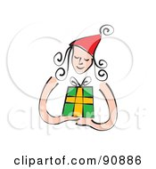 Royalty Free RF Clipart Illustration Of A Christmas Woman Wearing A Red Hat And Holding A Present by Prawny