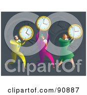 Royalty Free RF Clipart Illustration Of A Successful Business Team Carrying Clocks
