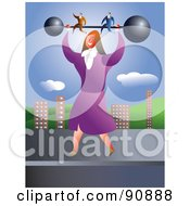 Royalty Free RF Clipart Illustration Of A Strong Businesswoman Holding Up Two Men On A Barbell