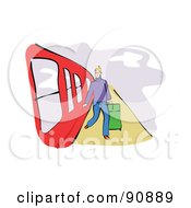 Royalty Free RF Clipart Illustration Of A Man Stepping Off Of A Red Train
