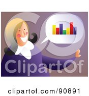 Royalty Free RF Clipart Illustration Of A Businesswoman Thinking Of A Bar Graph by Prawny