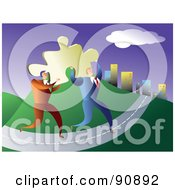 Royalty Free RF Clipart Illustration Of Two Businessmen Carrying A Solution A Puzzle Piece To A City