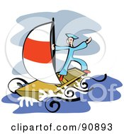 Royalty Free RF Clipart Illustration Of A Sailor Standing On Top Of His Boat While At Sea