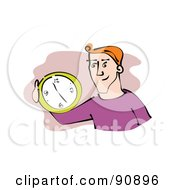 Royalty Free RF Clipart Illustration Of A Red Haired Businessman Holding A Wall Clock