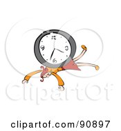 Royalty Free RF Clipart Illustration Of A Red Haired Businesswoman Crushed Under A Wall Clock