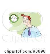 Royalty Free RF Clipart Illustration Of A Red Haired Businessman Glancing At A Wall Clock by Prawny