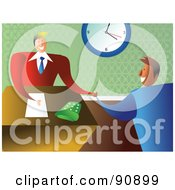 Royalty Free RF Clipart Illustration Of Businessmen Shaking Hands In An Office