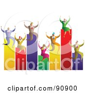 Royalty Free RF Clipart Illustration Of A Celebrating Business Team On A Bar Graph by Prawny