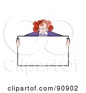 Royalty Free RF Clipart Illustration Of A Red Haired Man Holding Up A Blank Sign And Looking Down by Prawny