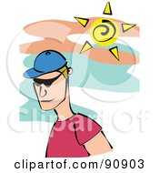 Royalty Free RF Clipart Illustration Of A Summer Man Wearing A Blue Hat And Shades