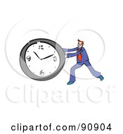 Royalty Free RF Clipart Illustration Of A Red Haired Businessman Pushing A Wall Clock by Prawny