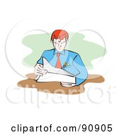 Royalty Free RF Clipart Illustration Of A Businessman Reading A Document At His Desk