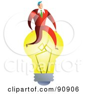 Royalty Free RF Clipart Illustration Of A Successful Businessman Sitting On A Light Bulb by Prawny