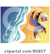 Royalty Free RF Clipart Illustration Of A Businessman Washed Up On Shore