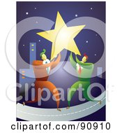 Royalty Free RF Clipart Illustration Of Two Businessmen Carrying A Star To A City