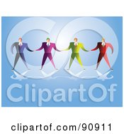 Royalty Free RF Clipart Illustration Of A Team Of Businessmen Holding Hands On Blue