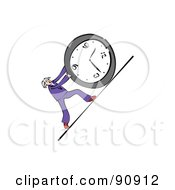 Royalty Free RF Clipart Illustration Of A Businessman Pushing A Clock Uphill by Prawny