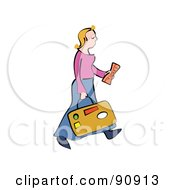 Royalty Free RF Clipart Illustration Of A Blond Woman Carrying Luggage And A Ticket by Prawny