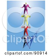 Royalty Free RF Clipart Illustration Of Businessmen Standing On Each Others Shoulders by Prawny