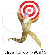 Royalty Free RF Clipart Illustration Of A Successful Businessman Carrying A Target by Prawny