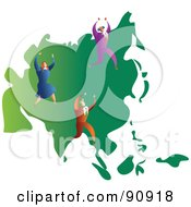 Royalty Free RF Clipart Illustration Of A Successful Business Team On A Map Of Asia