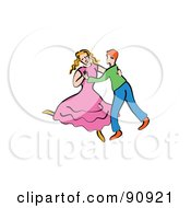 Royalty Free RF Clipart Illustration Of A Young Couple Dancing Together by Prawny