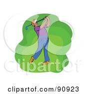 Royalty Free RF Clipart Illustration Of A Golfing Man Swinging by Prawny
